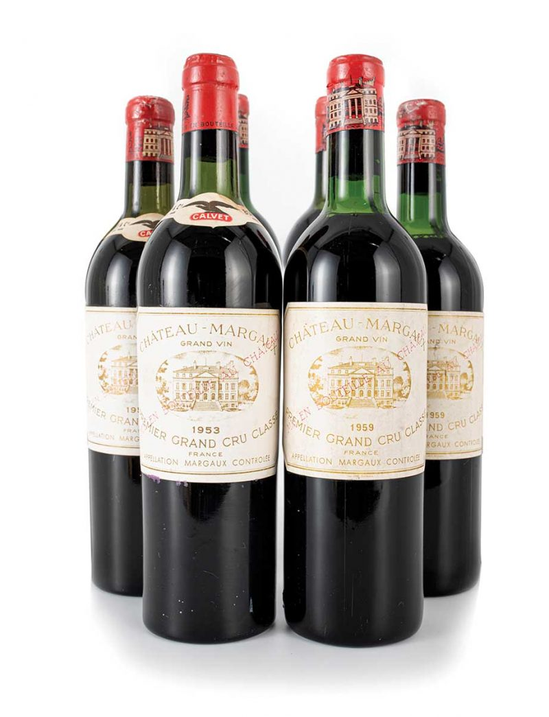 Lot 538, 539: 3 bottles each 1953 and 1959 Chateau Margaux
