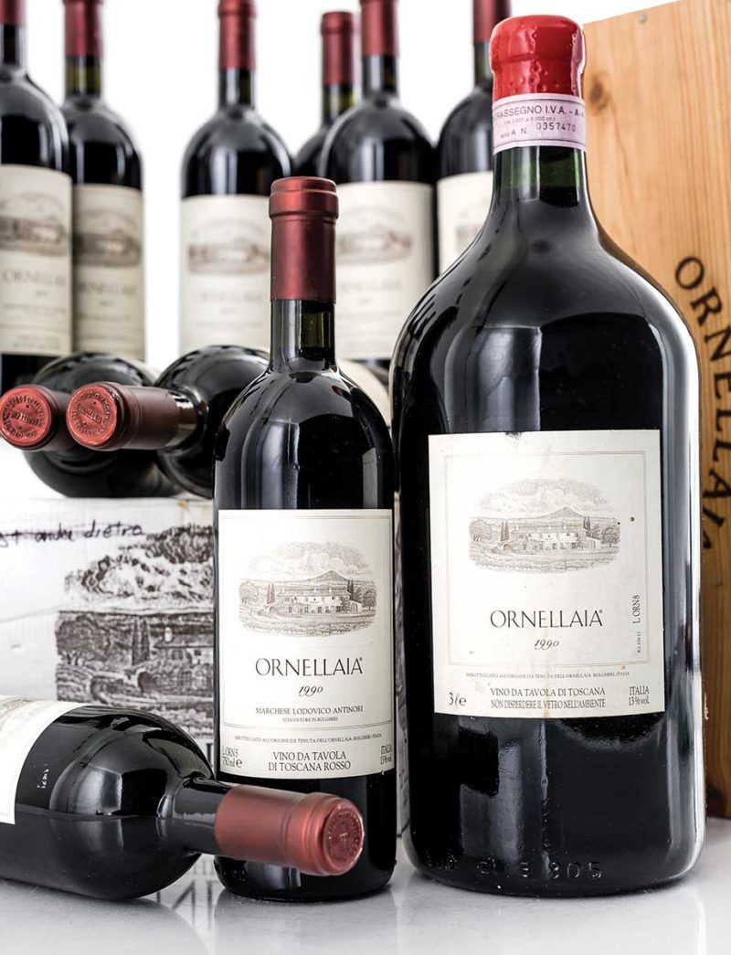 Lot 1164-1167: parcels of 12 bottles, 6 bottles and 1 double magnum 1990 Ornellaia in OWC