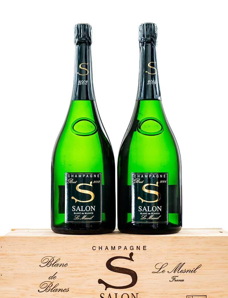 Lots 287, 299-300: 6 magnums each of 2002 Salon Vintage Champagne and parcels of 2004 in OWCs