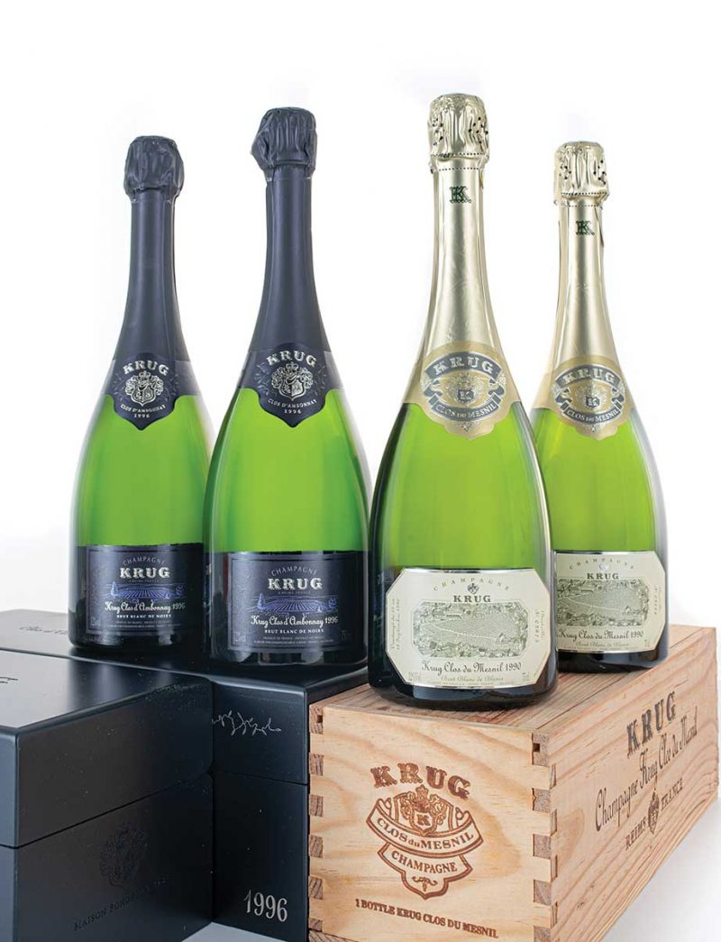 Lot 370, 372: 2 bottles each 1996 Krug Vintage Champagne Clos d'Ambonnay in OGBS and 1990 Clos du Mesnil in OWCs